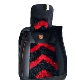 Fur Style Seat Cover Red and Black-SehgalMotors.Pk