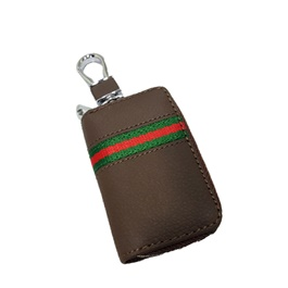 Universal Zipper Leather Key Cover Brown Pouch-SehgalMotors.Pk