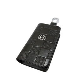 Honda Zipper Embossed Leather Key Cover Black Style B