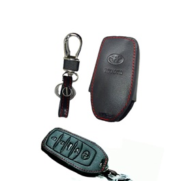 Toyota Fortuner Push Start Leather Key Cover - Model 2017-2019