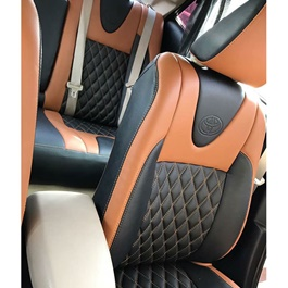 Japanese Leather Type Rexine Seat Covers Black And Orange Style	-SehgalMotors.Pk