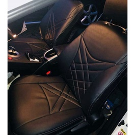 Japanese Leather Type Rexine Seat Covers Black with White Stitching-SehgalMotors.Pk