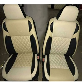 Japanese Leather Type Rexine Seat Covers Black and Beige	-SehgalMotors.Pk