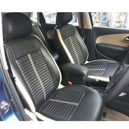 Japanese Leather Type Rexine Seat Covers Black Strips Style-SehgalMotors.Pk