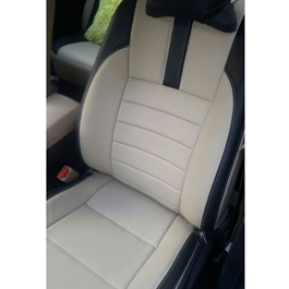 Japanese Leather Type Rexine Seat Covers Beige With Black Strips	-SehgalMotors.Pk