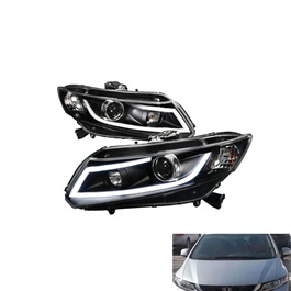 Honda Civic Spec-D Led Projection Headlight Black - Model 2012-2016-SehgalMotors.Pk