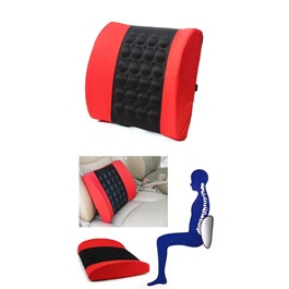 Universal Massage Back Rest Cushion With 12V Vibrator Seat - Black And Red -SehgalMotors.Pk