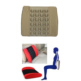 Universal  Massage Back Rest Cushion With 12V Vibrator Seat - Beige-SehgalMotors.Pk