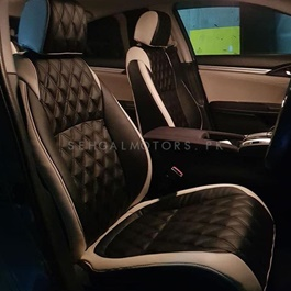 Japanese Leather Type Rexine Seat Covers Black and White-SehgalMotors.Pk