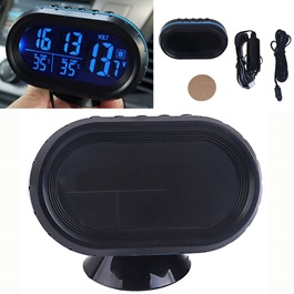 Car Digital LED Display Clock with Volt and Temperature Gauge With Option to Change Back lit Color-SehgalMotors.Pk