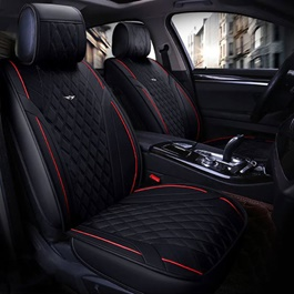 Japanese Leather Type Rexine Seat Covers Black With Red Lines-SehgalMotors.Pk