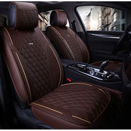 Japanese Leather Type Rexine Seat Covers Brown With Beige Lines	-SehgalMotors.Pk