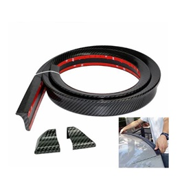 Trunk Rubber Lip Protector Carbon Fiber Black | Rubber Bumper Lip Splitter Skirt Protector Strap | Car Sticker Rubber Splitter Auto Body Guard Skirt Cover-SehgalMotors.Pk