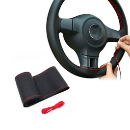 Steering Cover Black Red Stitch | Car Steering Wheel Cover | Auto Steering Wheel Cover | Anti Slip Wheel Cover | Non Slip Wheel Cover-SehgalMotors.Pk