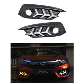 Honda Civic Fog Lamps / Fog Lights DRL Cover V3 Mustang Style - Model 2016-2020