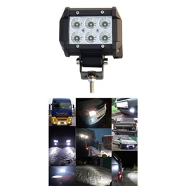 6 SMD Cree Light Universal - Pair | Cree LED Work Light Flood Spot Light Offroad Driving LED Light Bar-SehgalMotors.Pk
