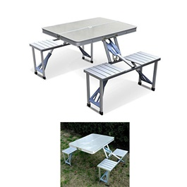 Portable Picnic Table Chair Silver-SehgalMotors.Pk