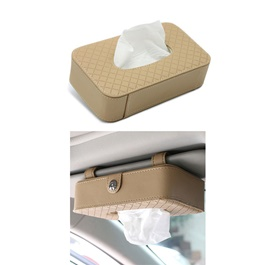 Car Sun Visor Facial Tissue Box Beige | Tissue Holder | Modern Paper Case Box | Napkin Container Tray | Towel Visor Tissue Box-SehgalMotors.Pk