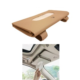 Car Sun Visor Facial Tissue Box Beige B Style | Tissue Holder | Modern Paper Case Box | Napkin Container Tray | Towel Visor Tissue Box-SehgalMotors.Pk