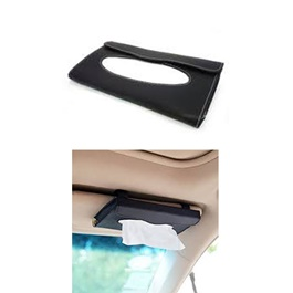 Car Sun Visor PU Leather Tissue Box - Black  | Tissue Holder | Modern Paper Case Box | Napkin Container Tray | Towel Visor Tissue Box-SehgalMotors.Pk