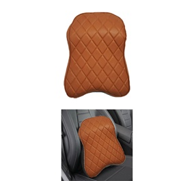 Universal Leather Style Backrest - Brown  | Car Seat Headrest Memory Cotton Soft Breathable Pillow Neck Support Cushion-SehgalMotors.Pk