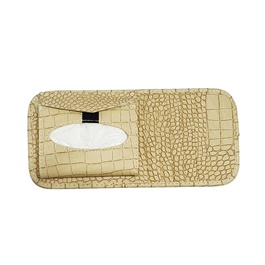 Multifunctional Alligator PU Leather Car Sun Visor Tissue Box Case - Beige -SehgalMotors.Pk