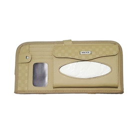 Multifunctional PU Leather Car Sun Visor Tissue Box Case - Beige -SehgalMotors.Pk