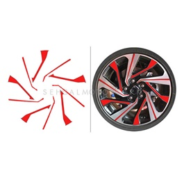 Honda Civic 3D Rim Sticker 16 inches Red - Model 2016-2020-SehgalMotors.Pk