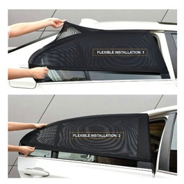 Car UV Protection Flexible Sun Shades Curtains For Hatchback - 4 Pcs-SehgalMotors.Pk
