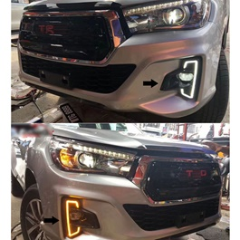Toyota Hilux Rocoo Fog Lamp DRL Covers Dual Led - Model 2016-2019-SehgalMotors.Pk