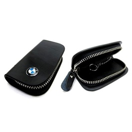 BMW Glossy Zipper Leather Key Cover Black-SehgalMotors.Pk