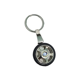 Toyota Tire Rim Key Chain / Key Ring With Blue Logo-SehgalMotors.Pk