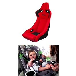 Baby Bucket Seat Red and Black |  Racing Bucket Seat Back Protector Cover Pure Cotton Seat Dust Boot | Baby Safety Seat-SehgalMotors.Pk