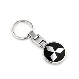 Mitsubishi Black Metal Key Chain / Key Ring-SehgalMotors.Pk