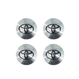 Toyota Wheel Cap Logo Chrome - 4 Pieces | Wheel Center Cap | Wheel Logo | Wheel Center Hub Caps | Wheel Dust Proof Covers Badge logo-SehgalMotors.Pk