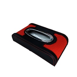 Car Tissue Box Red And Black with Red Stitch 5CM| Tissue Holder | Modern Paper Case Box | Napkin Container Tray | Towel Desktop-SehgalMotors.Pk