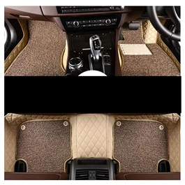 Toyota Land Cruiser LC200 9D Floor Mats Beige With Coffee Grass - Model 2015-2018-SehgalMotors.Pk