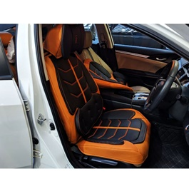 U.A.E Japanese Leather Type Rexine Extra Foaming Seat Covers Orange And Black -SehgalMotors.Pk
