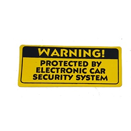 Protected By Electronic Car Security System Warning Sticker