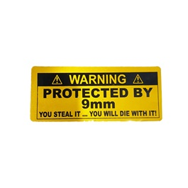 Protected By 9mm Car Warning Sticker-SehgalMotors.Pk