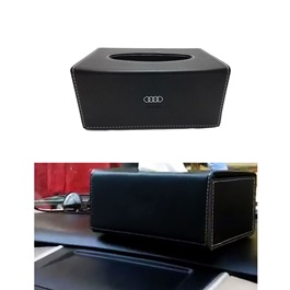 Audi Leather Car Tissue Box Black-SehgalMotors.Pk
