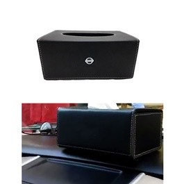 Nissan Leather Car Tissue Box 9CM Black | Tissue Holder | Modern Paper Case Box | Napkin Container Tray | Towel Desktop-SehgalMotors.Pk