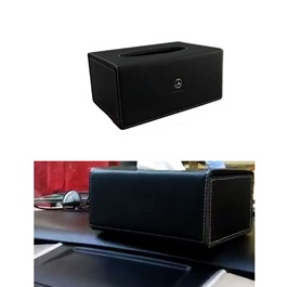 Mercedes Leather Car Tissue Box 9CM Black  | Tissue Holder | Modern Paper Case Box | Napkin Container Tray | Towel Desktop-SehgalMotors.Pk