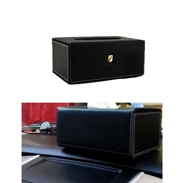 Porsche Leather Car Tissue Box 9CM Black | Tissue Holder | Modern Paper Case Box | Napkin Container Tray | Towel Desktop-SehgalMotors.Pk