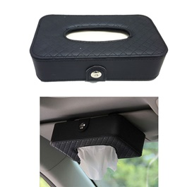 Premium Leather Car Tissue Box - Black | Tissue Holder | Modern Paper Case Box | Napkin Container Tray | Towel Desktop-SehgalMotors.Pk