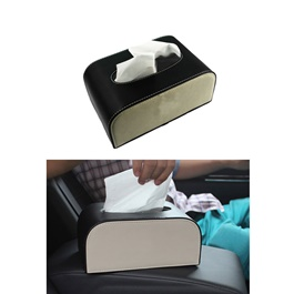 Genuine Black and White Car Tissue Box | Tissue Holder | Modern Paper Case Box | Napkin Container Tray | Towel Desktop-SehgalMotors.Pk