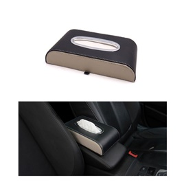 Car Tissue Box Black and Beige  with White Stitch
