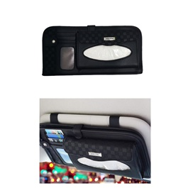 Multifunctional PU Leather Car Sun Visor Tissue Box Case - Black-SehgalMotors.Pk