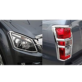 Isuzu D-Max / DMax / D Max Headlights / Head Lamps and Backlights Chrome Cover Thailand - Model 2018-2019-SehgalMotors.Pk