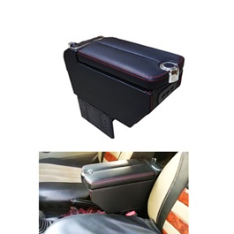 Universal Middle Open Armrest With USB Black | Center Console Storage Box | Center Console | Elbow Rest Arm Holder-SehgalMotors.Pk